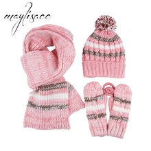 Maylisacc NEW 3 pcs Women Winter Warm Knitted Hat Cap Scarf with Gloves Fashionable for Girl's Women Hot Sell Christmas Gift Set