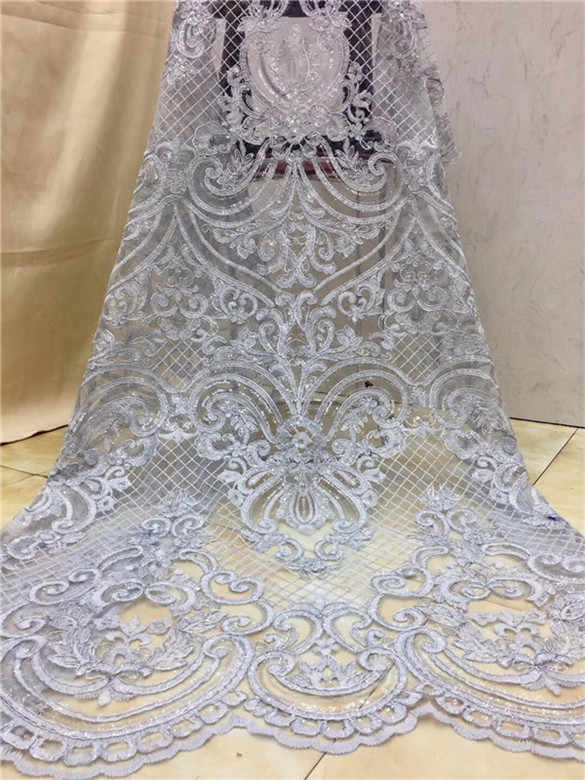 French Net Lace 2019 Latest african guipure lace sequins fabric with embroidery mesh tulle Gold Sequins French lace fabric blue