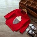 2017 nuevo otoño e invierno los niños y niñas de los niños de dibujos animados de helados suéter bolsillo suéteres rojos