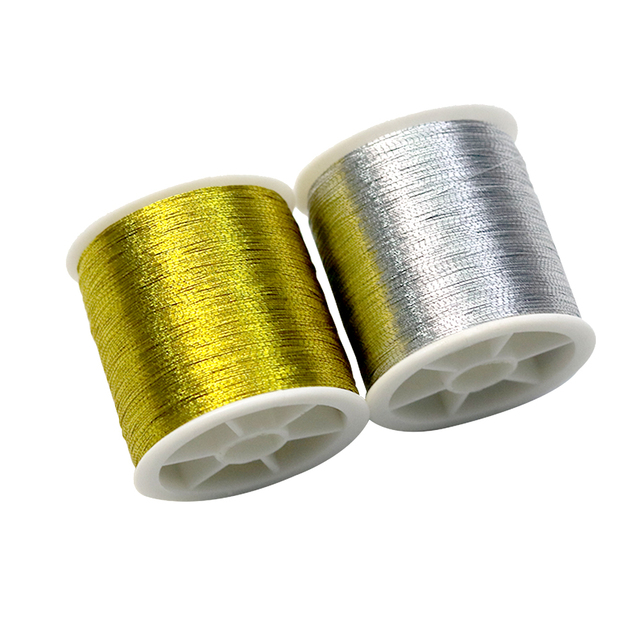 D&D Gold/Silver 109 Yards Durable Overlocking Sewing Machine Threads Polyester Cross Stitch Strong Threads for Sewing Supplies