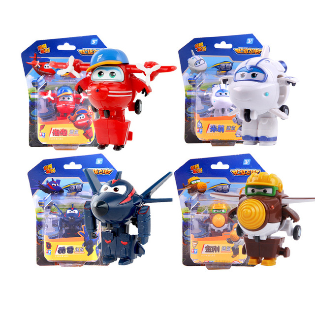 New 4pcs/set Super Wings Deformation Mini Airplane ABS Robot toy Action Figures Super Wing Transformation toys for children gift