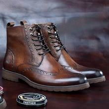 Wingtip  Round Toe  Brogue Ankle Boots