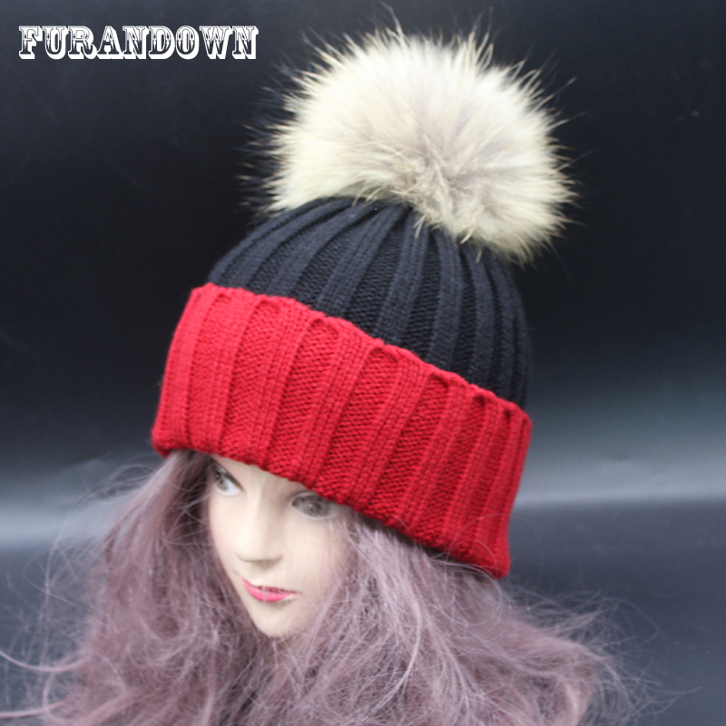 Fur Pom poms Beanies Winter Raccoon Fur Hats For Women Patchwork Knitting Female Girl Cap Luxury Brand Hat kinfire square shaped 15w 1320lm 75 smd 3528 led white light ceiling lamp w driver ac 85 265v