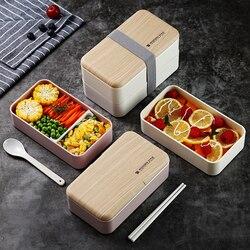 TUUTH, двухслойный Ланч-бокс для микроволновой печи, 1200 мл, деревянная коробка для салата, Bento, BPA бесплатно, портативный контейнер, коробка для ...