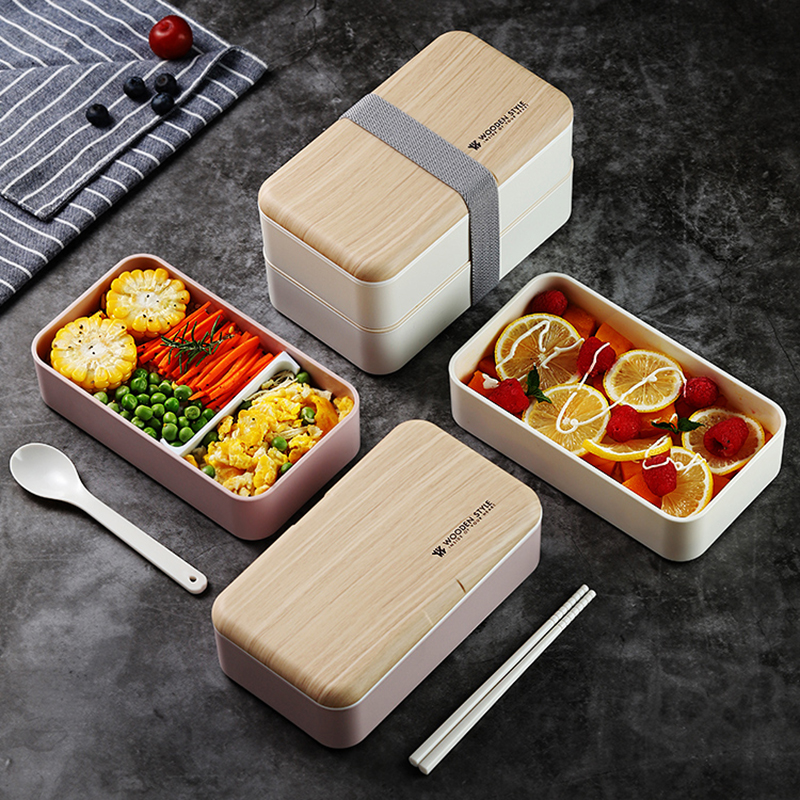 TUUTH Microwave Double Layer Lunch Box 1200ml Wooden Feeling Salad Bento Box BPA Free Portable Container Box Workers Student