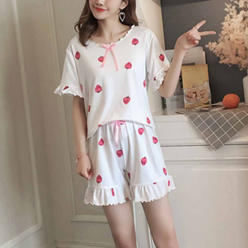 Newly Women Girl Lady Short Sleeve Shorts Nightgown Set Pajamas Sleepwear Summer Cute For Home DO99