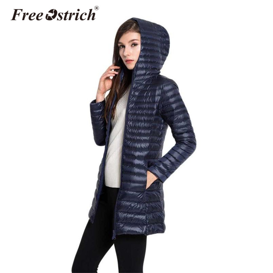 FREE OSTRICH 2018 Woman Padded Hooded Long Jacket Female Overcoat Ultra Light Solid Jack ...
