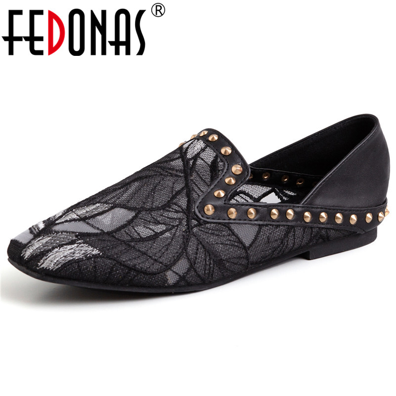 FEDONAS New Arrival Classic Design Elegant Retro Women Flats Mesh Square Heeled Shallow Casual Shoes Spring
