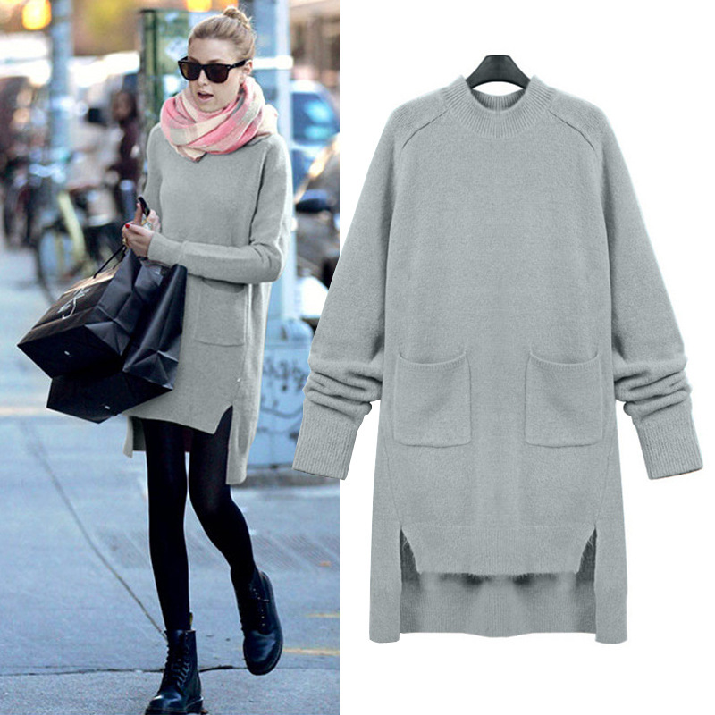 Large size round neck sweater dress vestidos Plus size winter dress robe femme Stylish and comfortable sweater