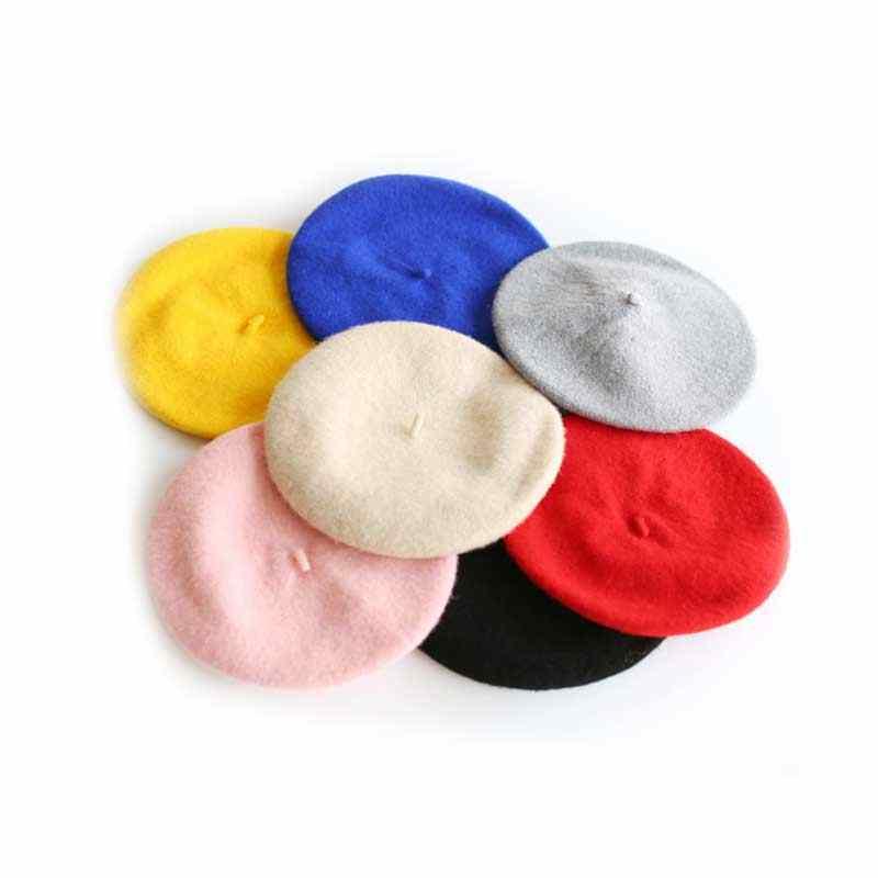 Bayan bahar kış bereliler şapka ressam tarzı şapka kadın yün Vintage bere düz renk kapaklar kadın Bonnet sıcak yürüyüş kap