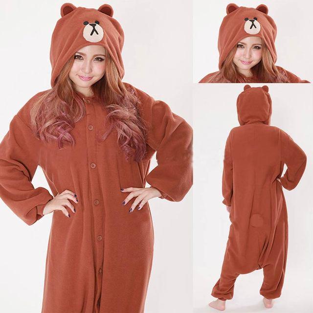 559c18bdf1 Kigurumi Unisex Adult Pyjamas Cosplay Costume Brown Bear Onesies White  Rabbit Pajamas Men Women Animal Onesie Sleepwear Jumpsuit