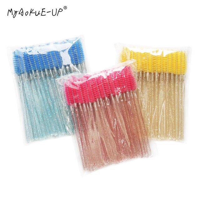 50 pcs Cosmetic Eyelash Brush  Crystal Mascara Wands Applicator Diamond Eyelashes brushes Disposable Make Up brushes Tools 4