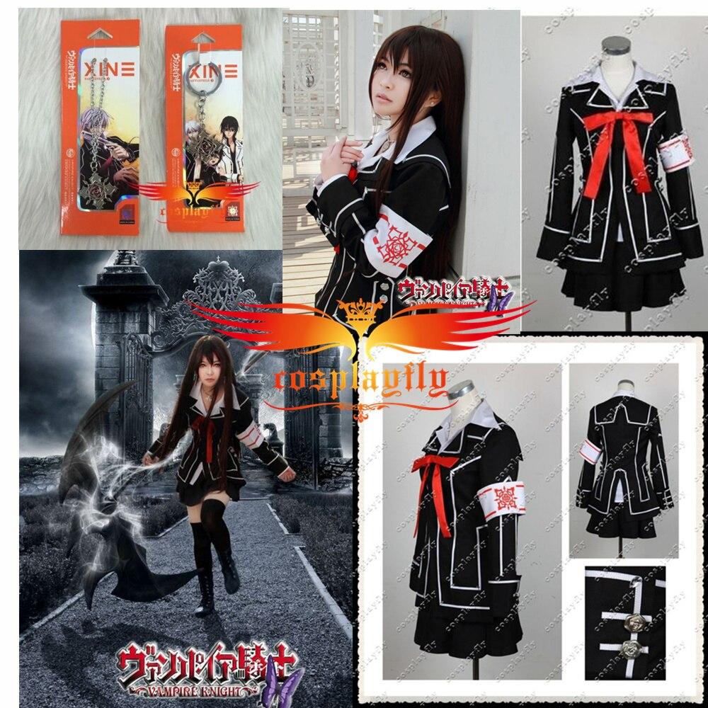 Vampire Knight Kurosu \ Kuran Yuki croix Costume de Cosplay fait sur commande n'importe quelle taille avec collier et porte-clés comme cadeaux