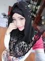 Cor do laço Chiffon beading moda duas peças muçulmano patchwork pashmina lenços hijab