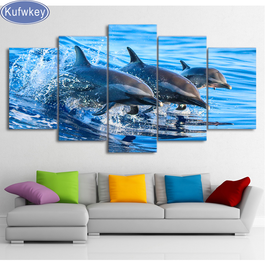 5 PZ natura Delfino mare diy Diamante Ricamo Immagine di Strass Mosaico Almaznaya Trittico Punto Croce Pittura Diamante 5d