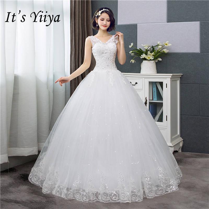 C'est YiiYa nouveau col en v robes De mariée Simple blanc cassé paillettes pas cher robe De mariée De Novia HS288