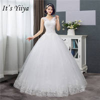 It's YiiYa New V neck Wedding Dresses Simple Off White Sequined Cheap Wedding Gown De Novia HS288