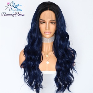Image 4 - BeautyTown Silk Dark Roots Ombre Blue Natural Wave Women Queen Daily Makeup Wedding Party Present Synthetic Lace Front Wigs