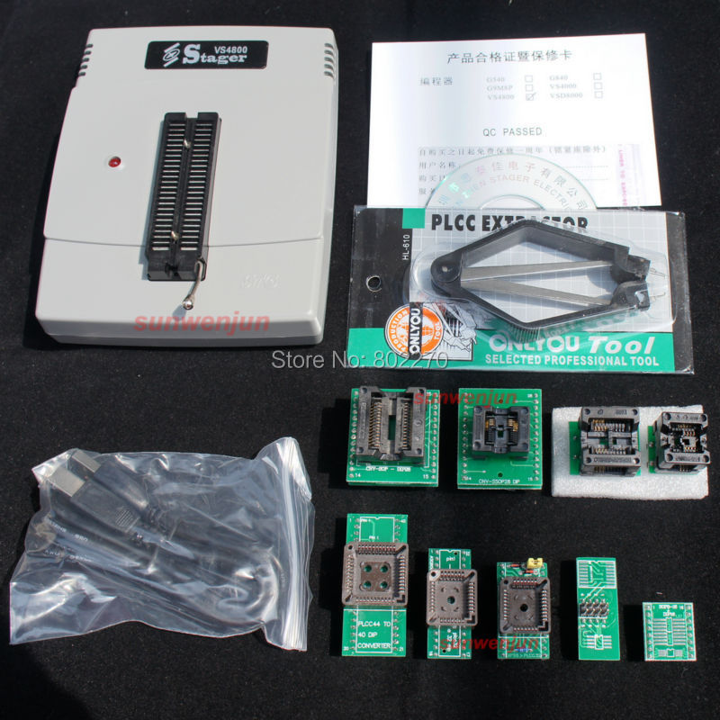 VS4800 USB High Speed Universal Programmer GAL EPROM FLASH 51 AVR PIC MCU SPI with 48pin ZIF socket,support 15000+, +9 adapters zlg easypro90b usb universal programmer eprom mcu pic writer duplicator burner 90b programmer