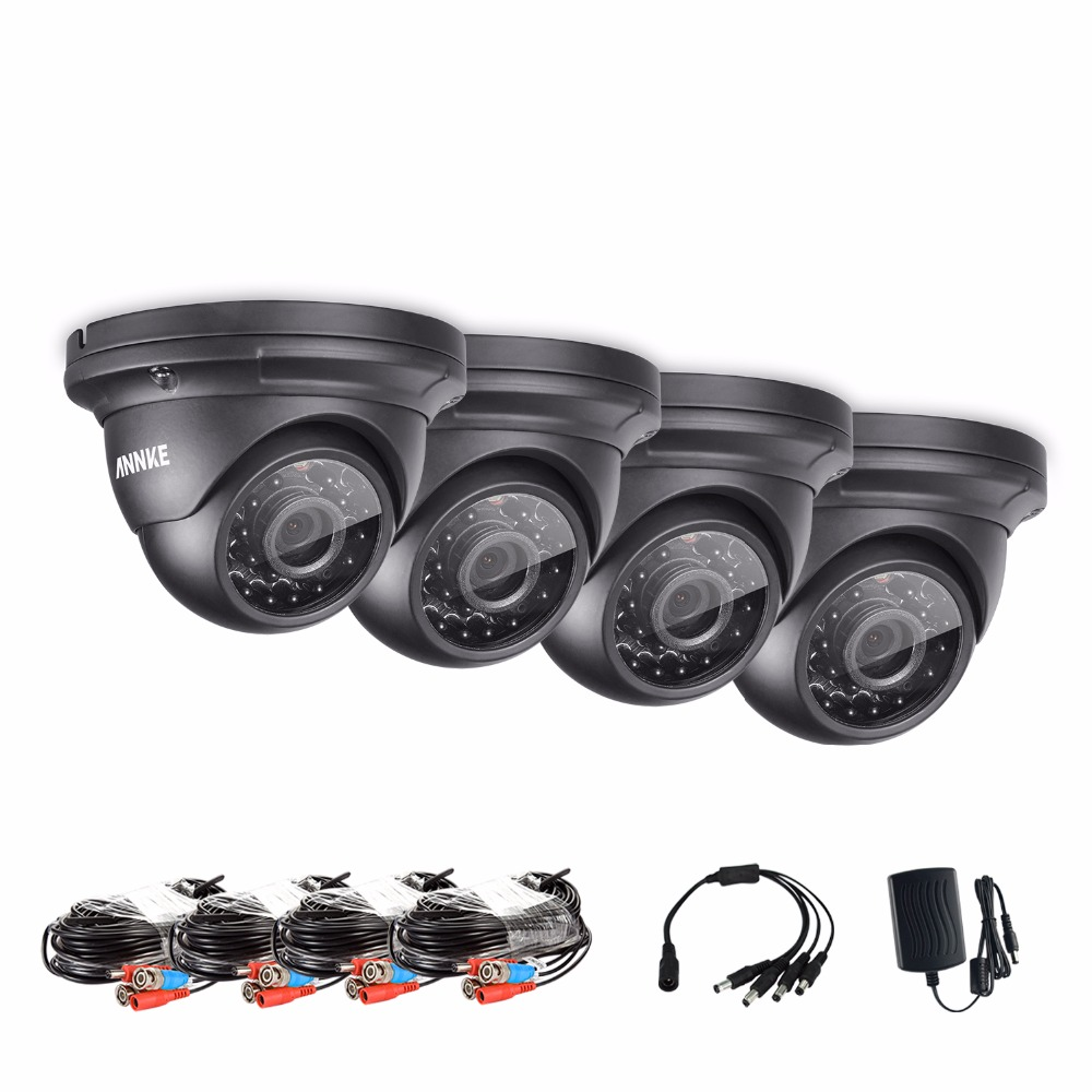 ANNKE 2.0MP 1080P HD Indoor Outdoor IR CCTV Home Security Camera System annke 4pcs hd 4mp ip network poe outdoor ir cut 3d dnr cctv home security camera system