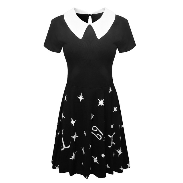 70e5b86795 Stars Mood Zodiac Skater Dress Short Sleeve Peter Pan Collar Casual Cotton  Women Dresses