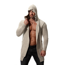 2018 new cardigan men fashion sweater hooded knitted good quality atumn long mens cardigans