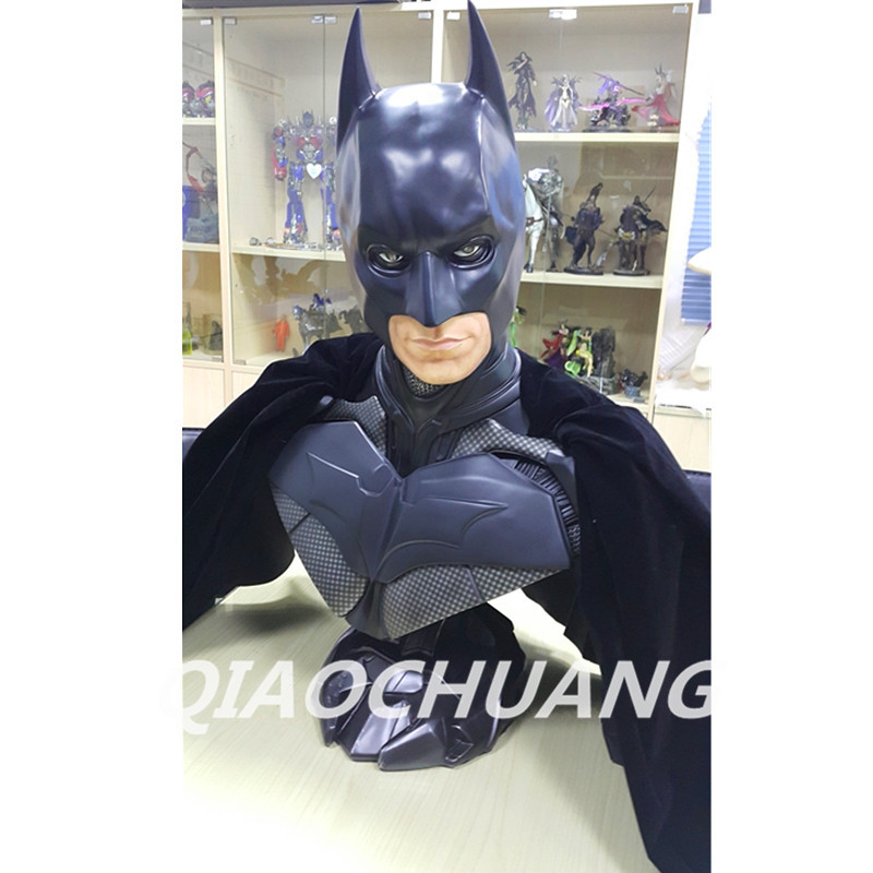 Statue Avengers Superhero Bruce Wayne Bust 1:1 (LIFE SIZE) Batman Half-Length Photo Or Portrait Resin Collectible Model Toy W207 statue avengers iron man war machine bust 1 1 life size half length photo or portrait collectible model toy wu849
