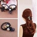 Moda Bandas Elásticas Del Pelo de las mujeres, Anillo de Goma del pelo Con La Perla, encaje-Detallada Para Las Niñas