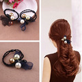 Women's Fashion Elastic Hair Bands , Hair Ring Gum With  Pearl, Lace-Detailed For Girls