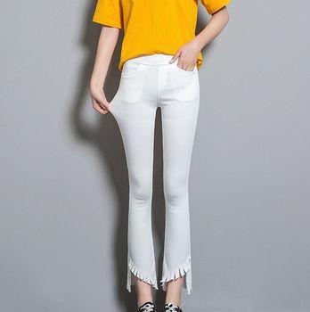 Jean grande taille femme évasé jean moulant taille haute femme noir blanc push up 2019 nouveau pantalon élastique 4XL 5XL