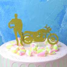 2 Pcs Set Creative Motorcycle And Handsome Man Cupcake Toppers Boy Birthday Party Cake Topper