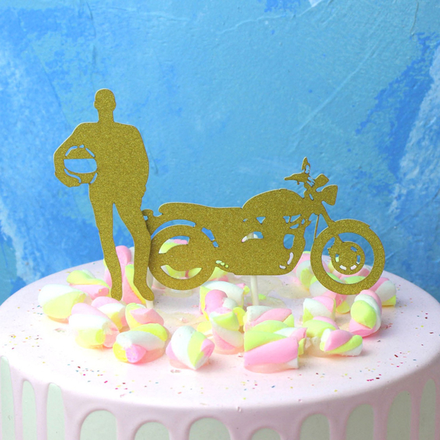 2 Pcs Set Creative Motorcycle And Handsome Man Cupcake Toppers Boy Birthday Party Cake Topper Decoration Supplies