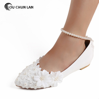White Lace Pearl Flat Flower Bride and Bridesmaids Wedding Shoes Women's Shoes female Shoes appliques Shoes Large Size 41 45