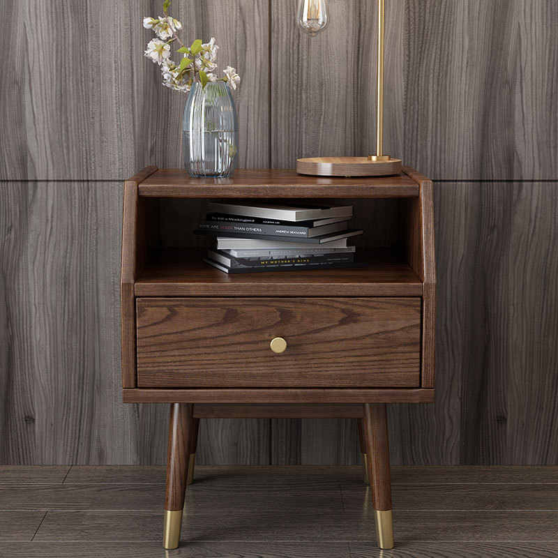 solid wood Nordic light white wax wood simple bedside table walnut color storage cabinet Side cabinet wooden wax oil furniture