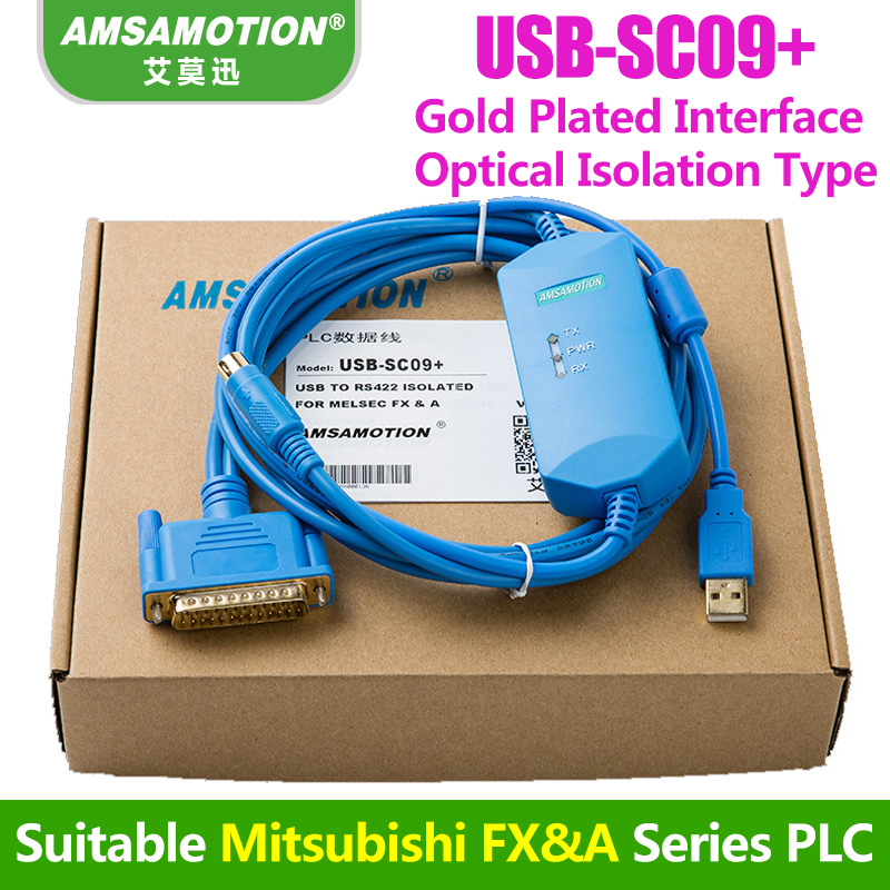 USB-SC09+ Built-in Isolation Chip Programming Cable Suitable Mitsubishi FX&A Series PLC Download cable цена