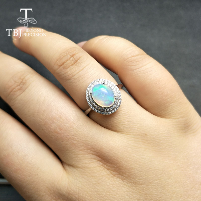 TBJ,Natural Ethiopian Colorful Opal oval 8*10mm with gemstone Comfortable Finger Ring in 925 sterling silver for women with  box