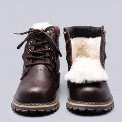Tamaño 38 ~ 50 botas de invierno de lana Natural estilo ruso cuero de grano completo piel de oveja hecho a mano hombres invierno botas de nieve # YM8988