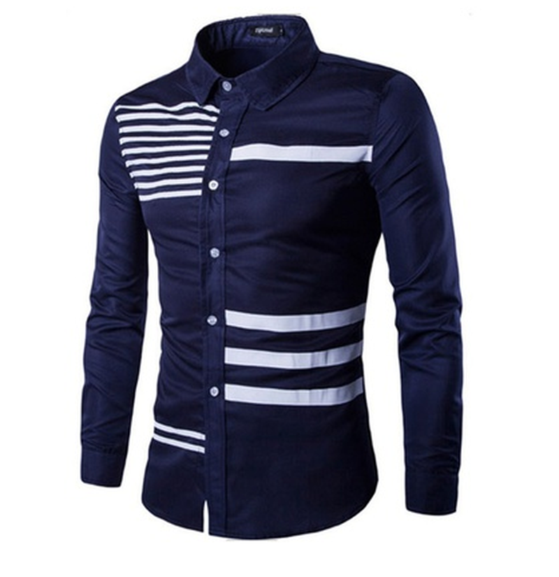 2018 Mens Spring Button Turn Down Shirt Long Sleeve Twill Business Formal Casual Men Color Matching Shirts Solid Men s Top ...