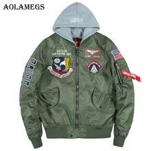 Aolamegs Bomber Jacket Men Badge Air Pilot Hooded Thin MA-1 Men's Jacket Hip Hop Fashion Outwear Men Coat Bomb Baseball Jackets цена 2017