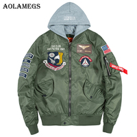 Aolamegs Bomber Jacket Men Badge Air Pilot Hooded Thin MA 1 Men's Jacket Hip Hop Fashion Outwear Men Coat Bomb Baseball Jackets