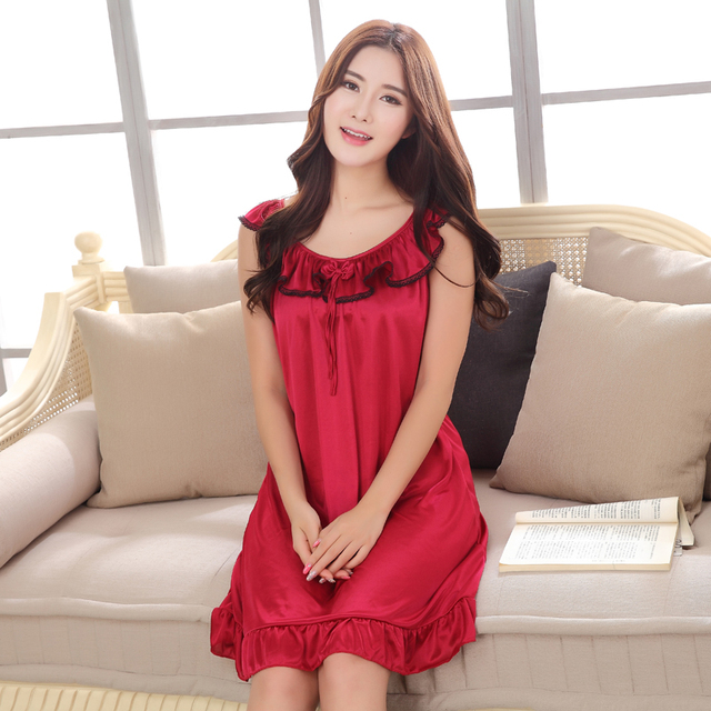 27705446ef5e Large size Female Nightie Sexy Satin Sleepwear Silk Sexy Lace Nightgown  Women Nightdress Sexy Lingerie