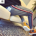 Letter Pu Leather Emblem Side Stripe Fleece Sweatpants Men Rib Legging Opening pantalon homme New 2016 Autumn Winter Trousers