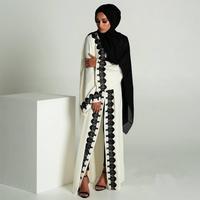 Plus size full length Adult emboridery lace muslim Robes Musulmane Abaya Cardigan Robes Arab Worship Service clothing Wj478