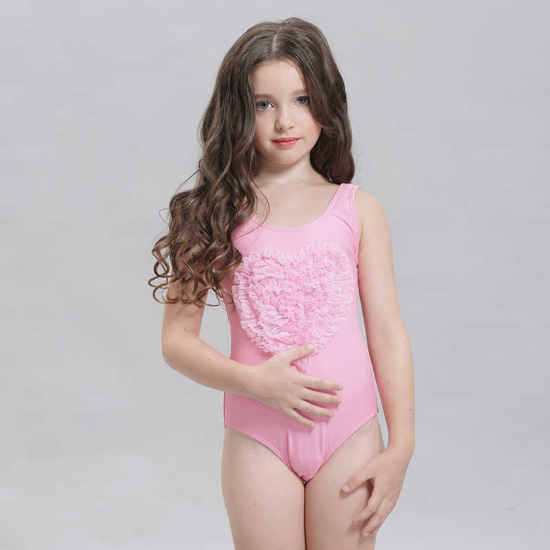 b90c5e2550 Upscale Children s swimming suit Girl Swimsuit Fresh and lovely Bathing  Suit Heart shaped connection Swimwear Free