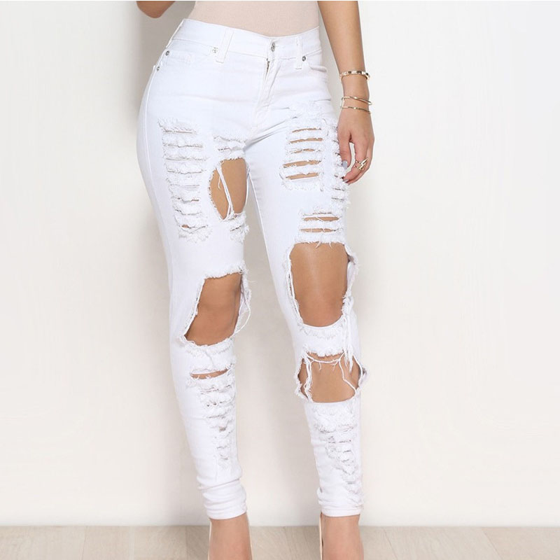 Popular White High Waisted Skinny Jeans-Buy Cheap White High