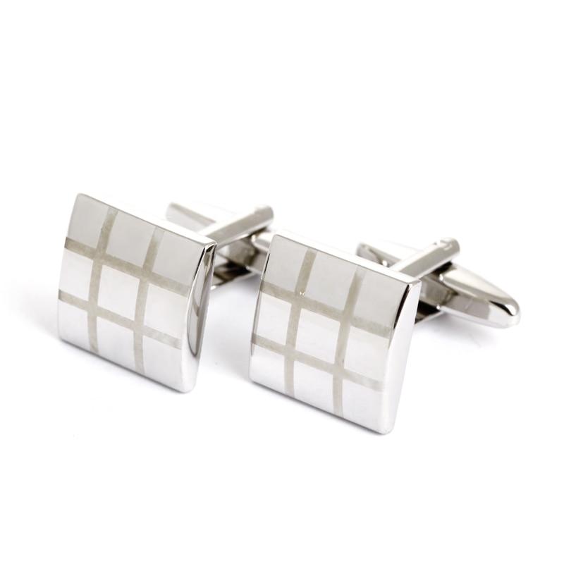 Silver Exquisite Extravagant Cufflinks Button Glossy Laser font b Tartan b font Pattern