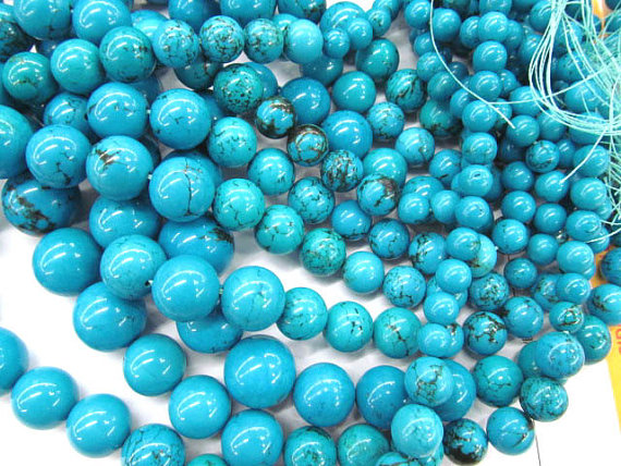 high quality bulk turquoise beads round ball green jewelry necklace 8-18mm 5strands 17inch/L polyresin round beads necklace 46 49cm 5 pack