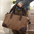 Classic Brown Durable Canvas+PU Leather Retro Casual Large Handbag Men's Travel Shoulder Messenger Laptop Bag Free Shipping