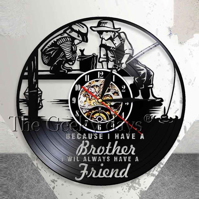 Friendship Quotes Brothers Bedroom Wall Clock Kids Fishing Nursery Decor Brotherhood Vinyl Record