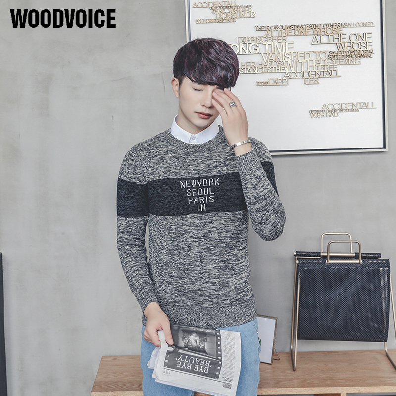Woodvoice 2017 New Autumn Winter Fashion Brand Clothing Mens Sweaters Letter Printed Slim Fit Men Pullover Knitted Sweater Men